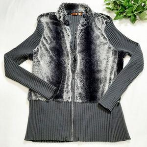 Belldini Fleece Ribbed Back Full Zip Cardigan 3X